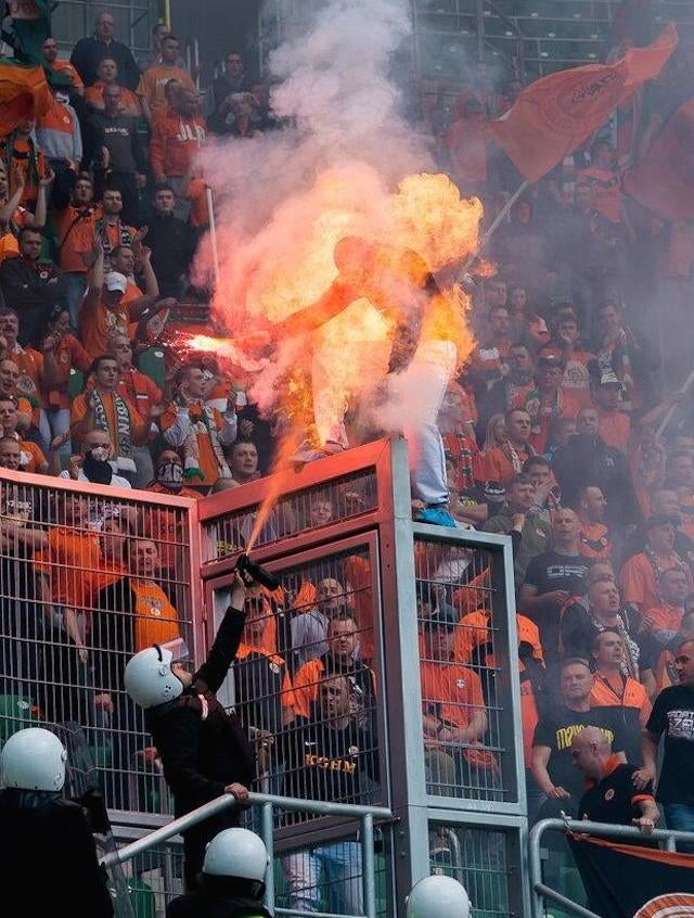 Crazy Photo: Soccer Fan Goes Up In Flames