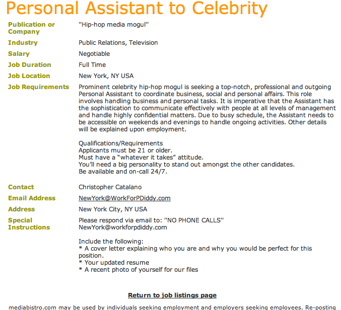 P. Diddy is Hiring a PA (Again)!