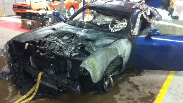 Dodge Challenger burns to a crisp on assembly line