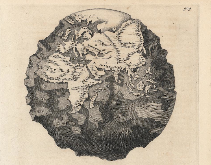 A 17th-Century Map Depicts A World With The Oceans Drained Of Water