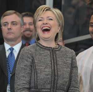 Hillary Clinton Greets Her New Job, Staff With A Smile