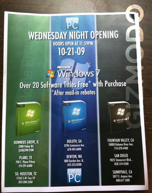 Get Windows 7 at Midnight Plus Loads of Free Software at Fry's