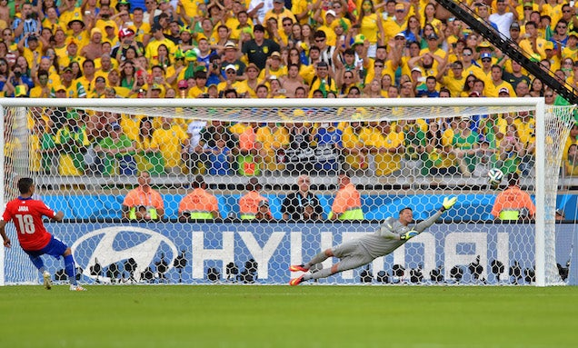 Brazil's Goalkeeper And Goal Frame Keep Them From Falling To Chile
