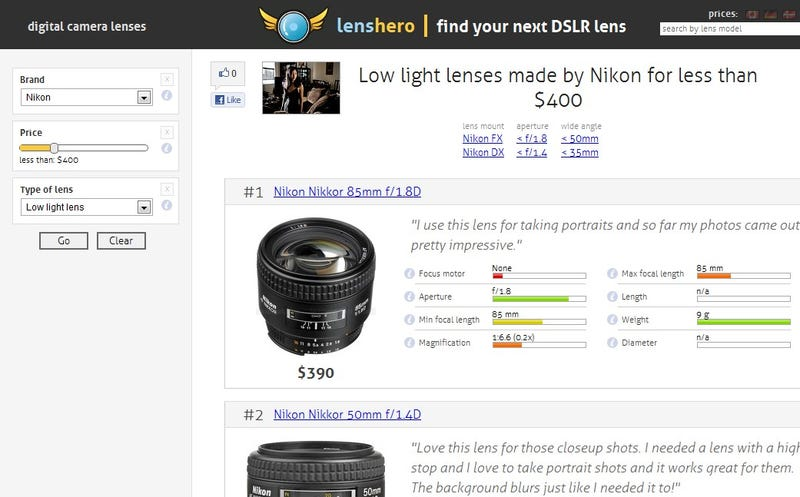 Lenshero Catalogs Camera Lenses for Easy Comparison
