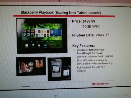 Inventory Listing Suggests Blackberry Playbook Will Hit Stores in Late-March for $500