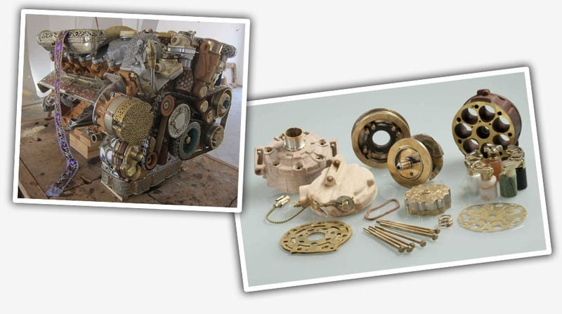 Artist Creates Mercedes V12 Out Of Bones, Fossils, Bronze, and More