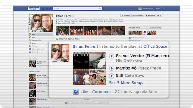 Rdio's on Facebook Open Graph