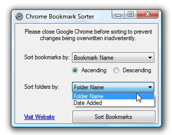 Chrome Bookmark Sorter Rearranges Bookmarks Recursively