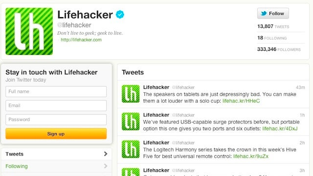 Follow Lifehacker and Our Writers on Twitter for Our Articles As They're Posted and Hilarity that Lasts All Day
