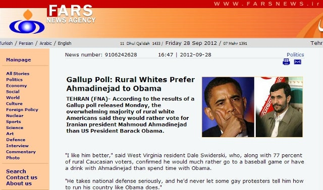 Iran's Top News Agency Duped by Onion Article Claiming 'Rural Whites Prefer Ahmadinejad to Obama' [UPDATE]