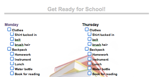Inspire Kids to Get Ready for School Early with a Checklist