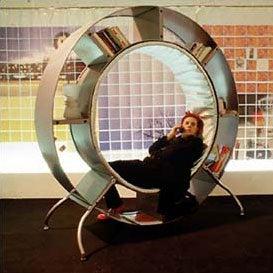 Reaction Bookshelf: A Human Hamster Wheel of Learning