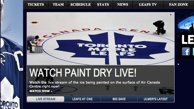 "The Toronto Maple Leafs Are Encouraging Their Own Fans To ""Watch Paint Dry Live!"""