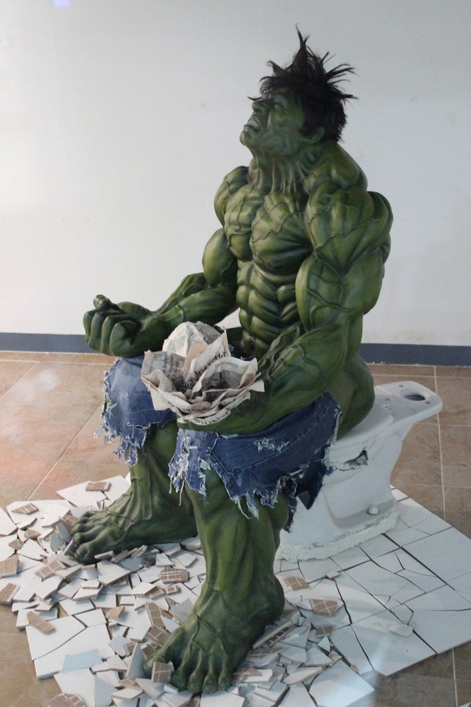 In a South Korean mall, you can see The Incredible Hulk using the bathroom