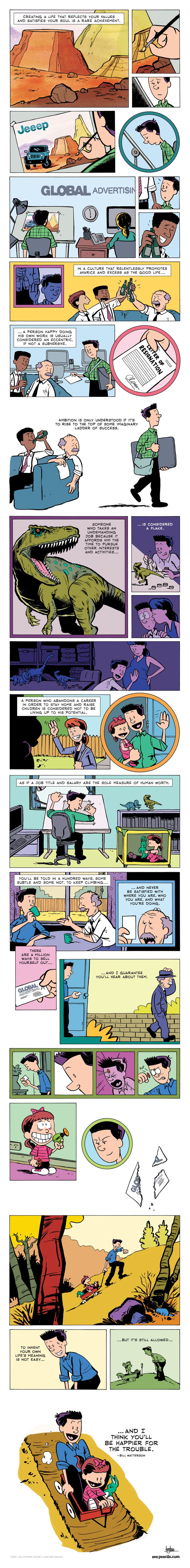 Inspirational Bill Watterson Speech Turned Into Watterson-Style Comic