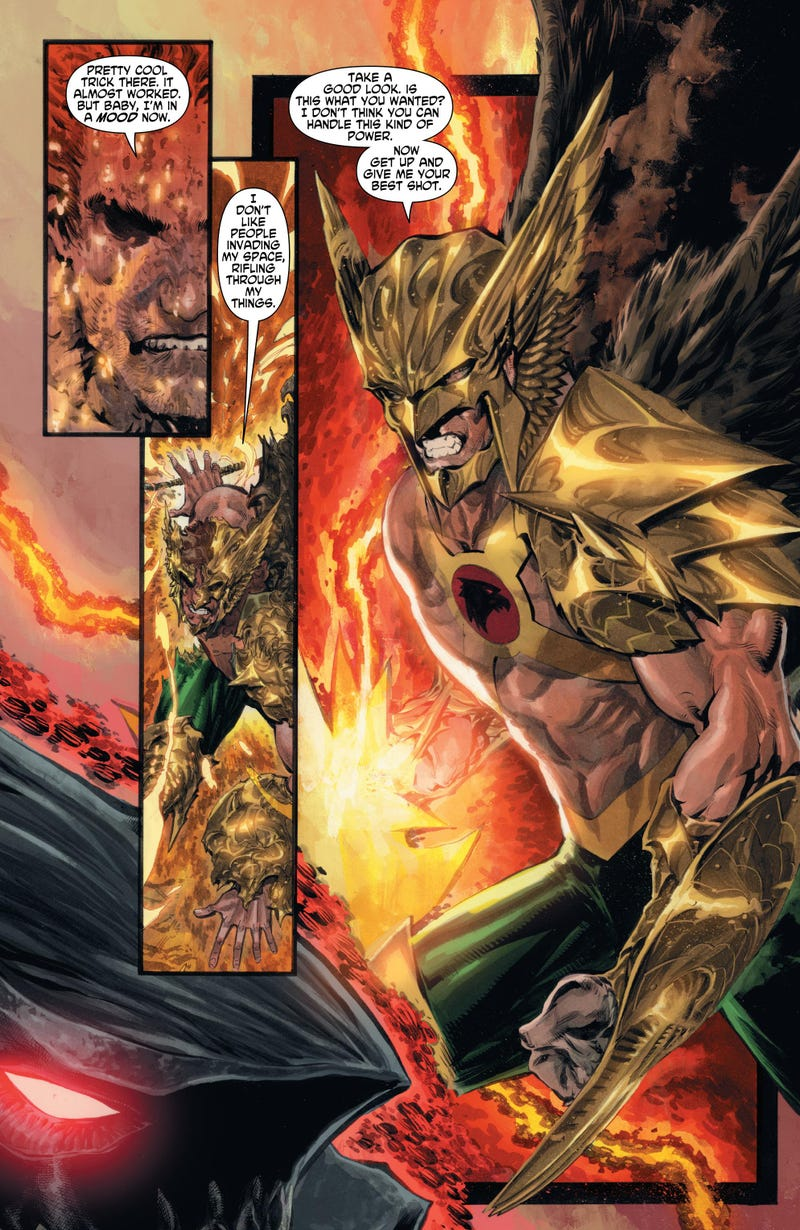 In this exclusive preview of The Savage Hawkman, it's weird bad guys and weirder metals!