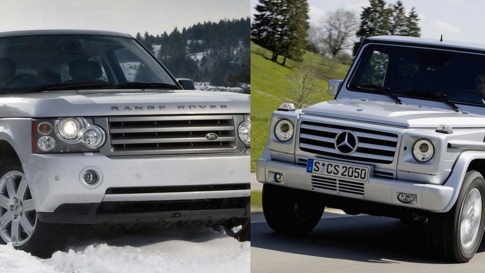 a comparison used mercedes g wagen vs used range rover. Black Bedroom Furniture Sets. Home Design Ideas