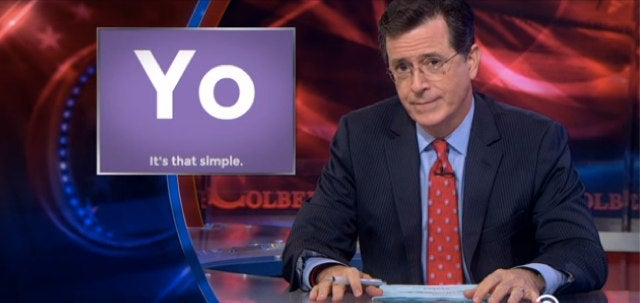 "Stephen Colbert's One-Letter Review of Yo App: ""Y?"""