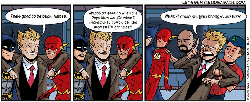 The webcomic Let's Be Friends Again pokes superhero comics in the eye