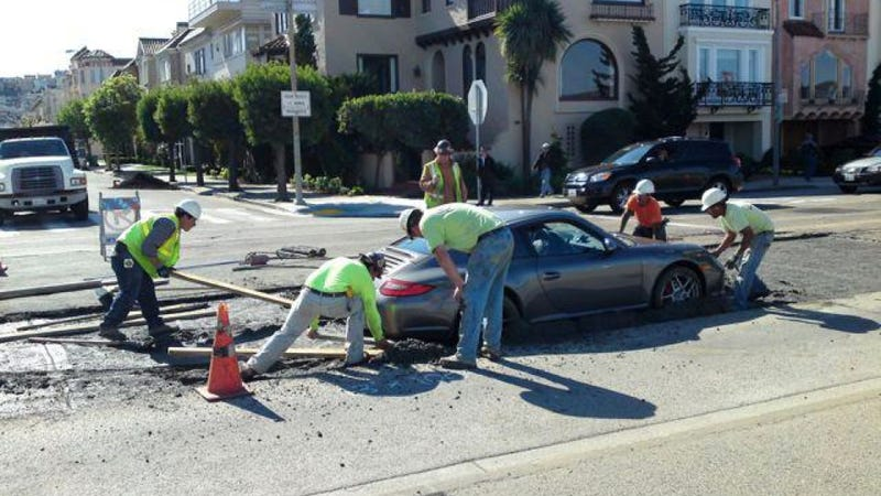 This Is Why You Don't Drive Your Porsche Into Wet Cement