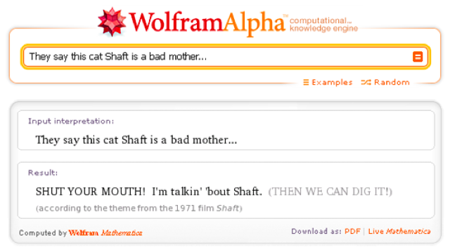 Wolfram Alpha Sings the Theme From Shaft