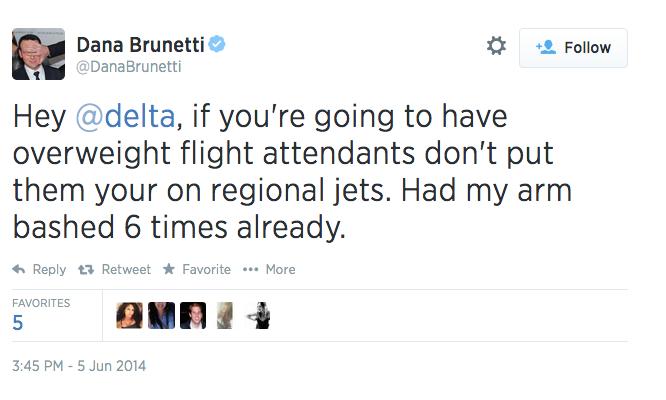 Social Network Producer Doesn't Like Fat Flight Attendants on Plane