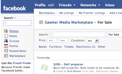 Facebook offers free classifieds