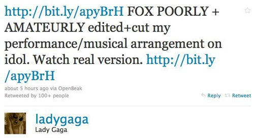 Lady Gaga Unhappy With Fox's Editing Of Her American Idol Performance