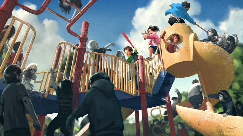 Concept Art Writing Prompt: Battle on the Zombie Playground