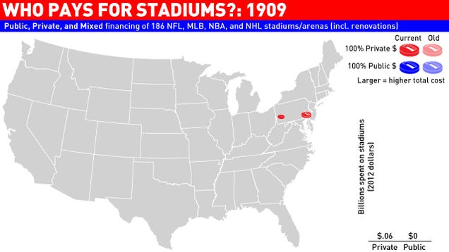 Animated Infographic: Watch As America's Stadiums Pile Up On The Backs Of Taxpayers Through The Years
