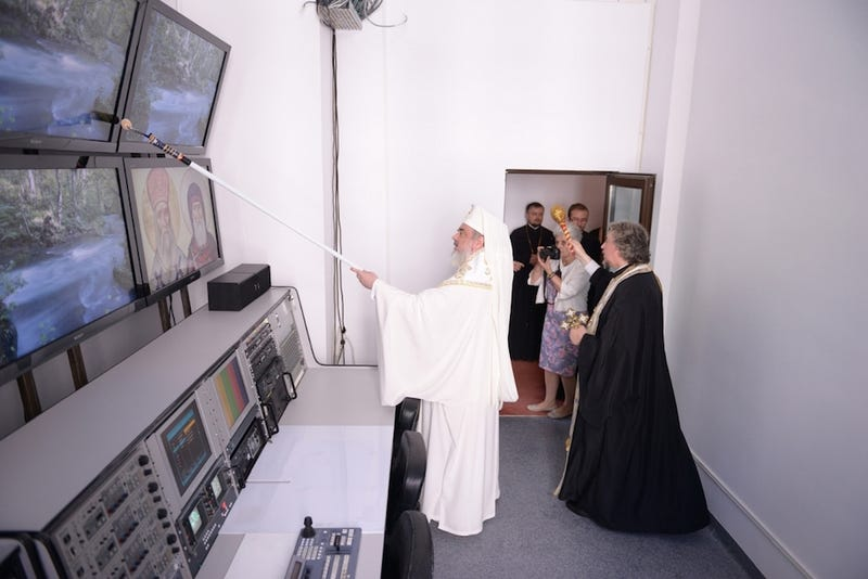 Enterprising Romanian Holy Man Blesses TV Studios with Paint Roller