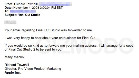 Student Writes to Steve Jobs, Gets Free Final Cut Studio 2