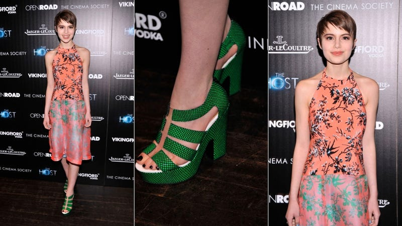 Pretty Dresses and Befeathered Shoes at The Host Premiere