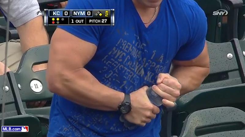 Musclebound Mets Fan Can't Open Water Bottle