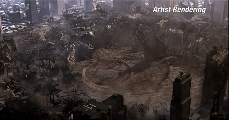 Man of Steel concept art shows trashed Metropolis after the final fight