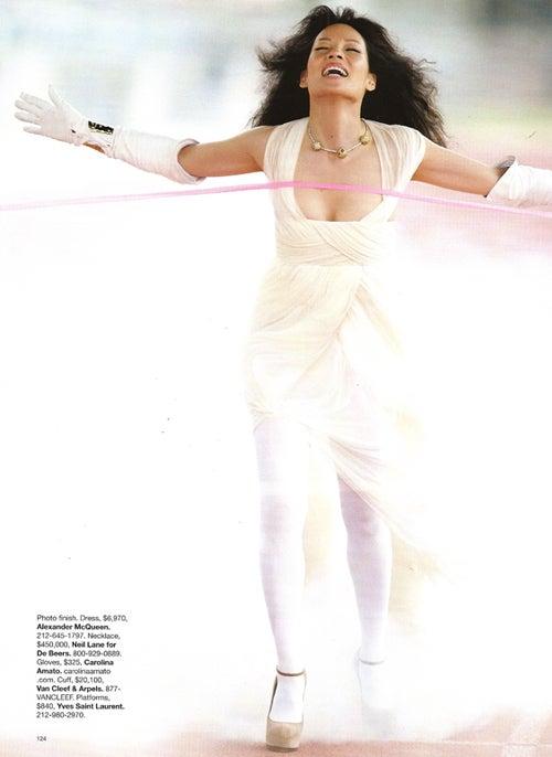 Lucy Liu Wins The Dumb Medal In Bazaar's Fashion Olympics