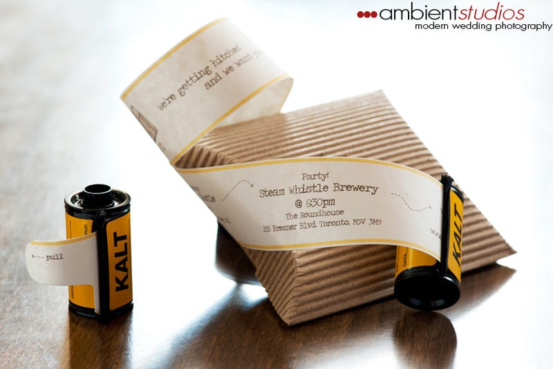Tug the Film Out of Its Canister to Reveal the Wedding Invitation