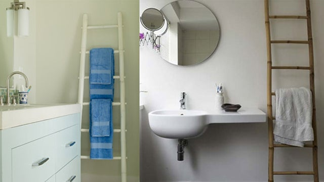 Repurpose an Old Wooden Ladder as A Bookshelf or Towel Rack