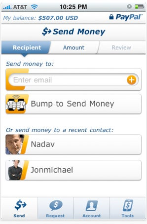 PayPal iPhone App Transfers Money By Bumping Against Another iPhone