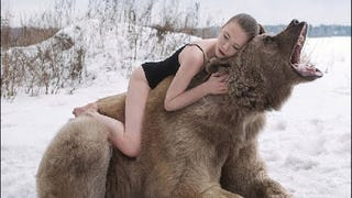 Russian Bear Harassed By Models