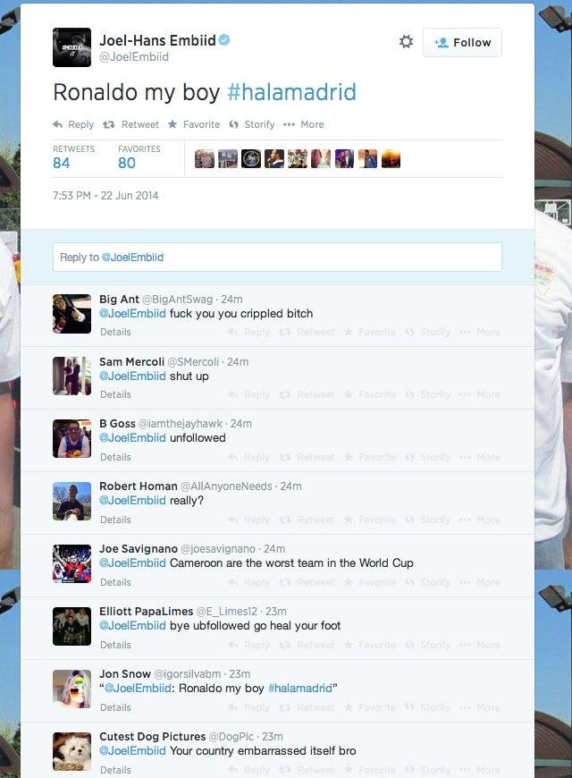 Joel Embiid Supports Cristiano Ronaldo, Receives Twitter Bile