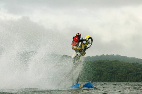 Travis Pastrana Jumps Motorycle From Water
