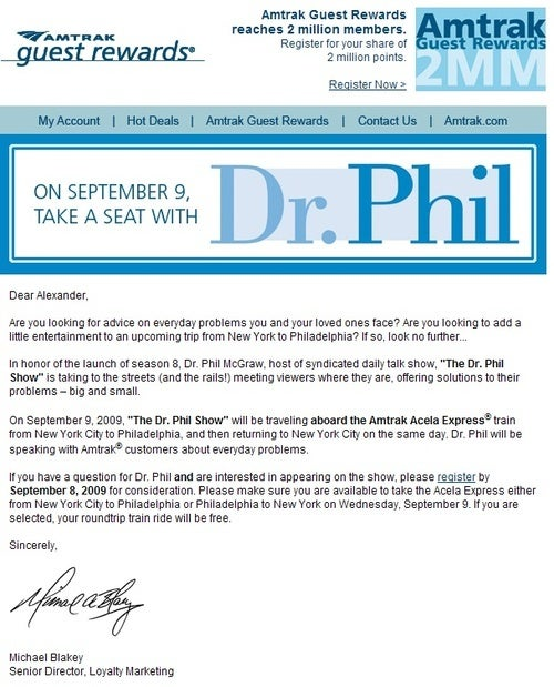 Dr. Phil To Ride Amtrak Around For Some Reason, Next Month