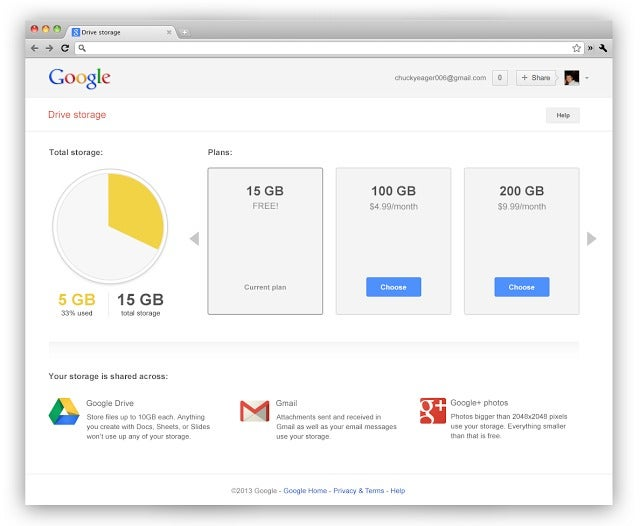 Your Gmail, Drive, and Google+ Storage Is Now One Big 15 GB Chunk
