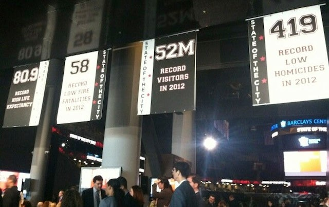 Now Hanging In The Barclays Center: Banners With NYC's Crime Stats