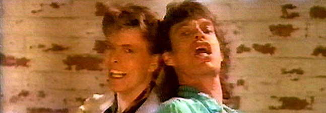 I can't stop laughing watching Bowie and Jagger in this music-less clip