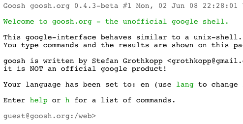 Goosh.org Unix-like Google Command Line