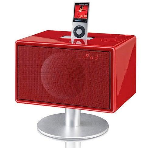 Mini GenevaSound iPod Dock Glossy Like a Piano, Red Like Lipstick