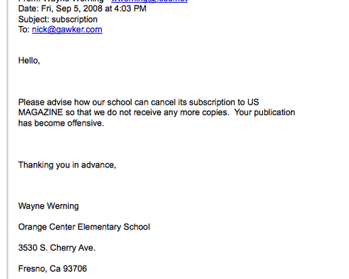 Elementary School Cancels Their Subscription to US Weekly
