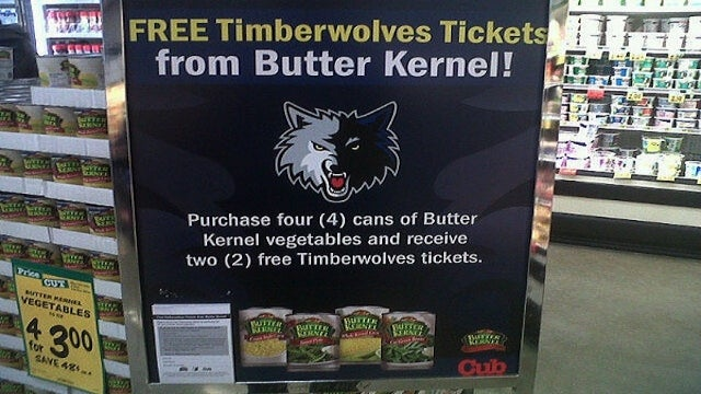 Four Cans Of Corn Will Get You Two Tickets To A Timberwolves Game